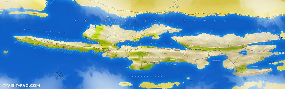 Mappa di Isola di Pag